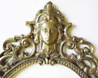 """Brass Oval Frame for Mirror 15"""" x 26"""", Vintage Art Nouveau, Victorian Lady & Fleur de Lis"""