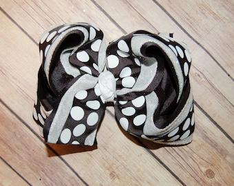 Ssd Black & White Bubble Dot Triple Hair Bow