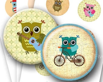 Little Owls  2.5 inch round printable images Digital Collage Sheet for pocket mirrors, magnets, cards, badges. Instant digital download
