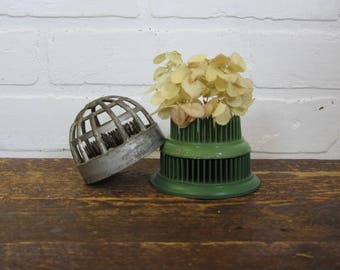 Collection of Three Vintage Metal Spiked Cage Green Silver Flower Frogs