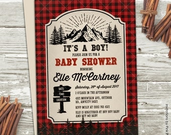 Lumberjack Baby Shower Invitation, Lumberjack Great Outdoor Camping Adventure Baby Shower Party Printable Invitation