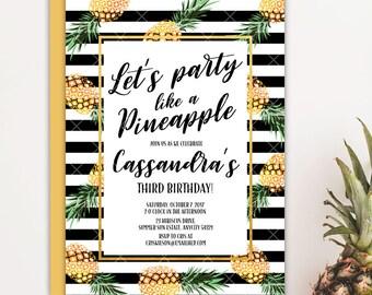 Pineapple Birthday Party Invitation, Party Like A Pineapple Birthday Party, Aloha Luau Tropical Birthday Printable Invitation