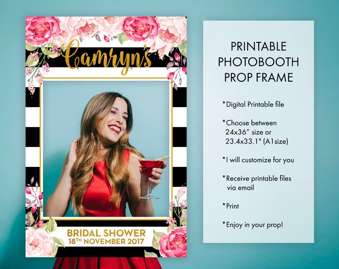 Birthday Photo Booth Frame Props Floral Pink Black and White Stripes and Gold Party Decoration Photo Prop