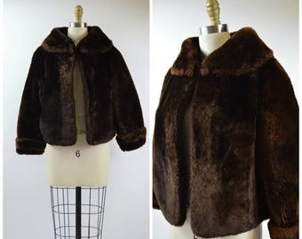 July Sale Vintage Mouton Fur Jacket Size Small Cropped Jacket with Large Collar Nice Condition Warm Winter Fur Coat 1950s