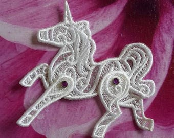 UK White and purple  jeweled Gothic lace unicorn applique, necklace, choker centerpiece, brooch, pin hand made
