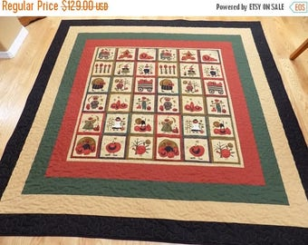 Sale Christmas in July Thanksgiving festive lap quilt or tablecloth 74 x 74