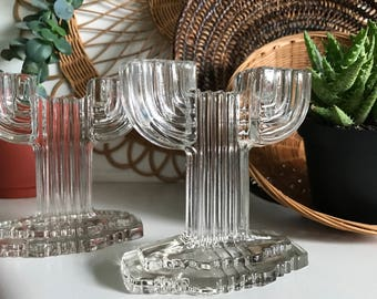 Depression Glass Candle Holders from Hocking - Queen Mary