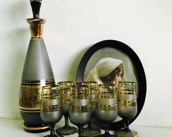 Mid Century Decanter Set, Decanter, Cordial Glasses, Stemware, Gray and Gold