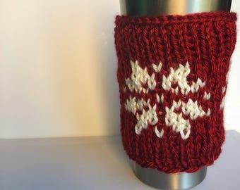 Snowflake Travel Mug Sleeve - coffee cup cozy - knit mug cozy