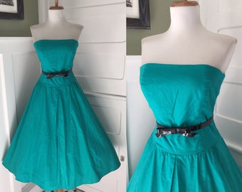 Vintage Sexy 1950s 1980s Teal Turquoise GreenSTRAPLESS  Cotton Full Skirt Day Shirt Sun Dress