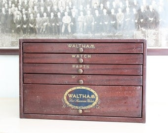 Vintage Waltham Watch Parts Cabinet - Watchmaker - Watch Repair - Industrial Storage - Steel