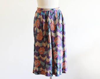"""Vintage High Waisted Floral Printed Skirt / Emanuel Ungaro Paris / 27"""" Waist / Designer Vintage Clothing"""