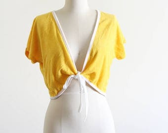 25% OFF SALE Vintage Deadstock Terry Cloth Cropped Tie Front Blouse / 80's Vintage