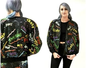 SALE Vintage Black  SequinJacket with Words 90s pop art// Vintage Black Sequin Jacket Bomber Jacket Awesome Party Fun Jacket By Modi Sequin