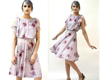 SALE 70s Vintage Floral Print Dress Size XS Summer Dress// 70s Vintage Summer Dress Size XS Small Purple Blue Pink Floral Print Ms. Sugar J2