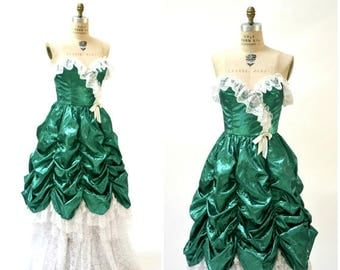 SALE Vintage 80s Prom Dress XS Small Metallic Green// Vintage 80s Metallic Party Dress Green White Lace Southern Bell Pageant Small By Loral