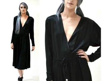 SALE Vintage Black Silk Dress Size Medium Plunging Neckline// 80s 90s Vintage Black Silk Wrap Dress Medium