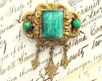 Vintage 1930's Brooch Pin with Green Czech Glass ANTIQUE Art Deco Costume Jewelry