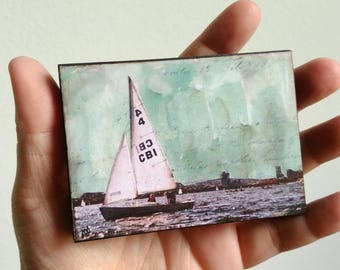 "Sailing Art, Mini Original Art, Mixed Media Art, Sailboating, Sailboat Art, Miniature Art,   2.5"" x 3.5"" ACEO Wood Block ""Sailboat"""