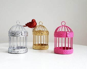 Gift Wrap Decor, Favor Holders, Mini 4 inch Bird Cages, Pink Gold Silver Birdcage Favor Holders, Kids Crafts, Party Decor Crafts, Supplies