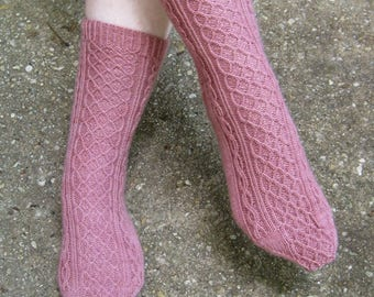 Knit Sock Pattern:  Tahara Two Cable Sock Knitting Pattern