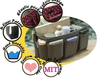 Purse Bag organizer insert keeps everything organized in purse solid brown Medium 22x8cm