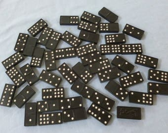 48 Vintage Dominoes Tiles Dragon Back - Jewelry and Craft Supply - Black with White - NC