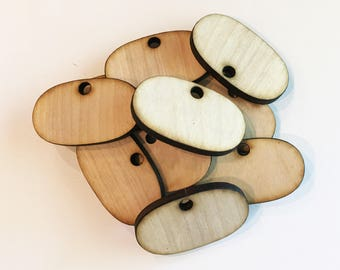 "Unfinished wood Oval Discs with hole 2.125"" Set of 50, Wood shapes, Wood disc, wood supplies, DIY wood crafts"