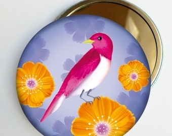 "Petit miroir de poche ""Rosy"" oiseau fleuri, accessoire cadeau feminin"