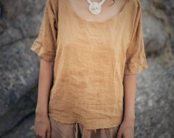 Cut Gypsy Top~ camel brown ~ Natural Dye ~ Handwoven Cotton