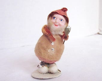 Vintage Christmas Elf Gnome Ornament Holiday Decoration Orange Spun Cotton Body 1950s Christmas RARE BODY