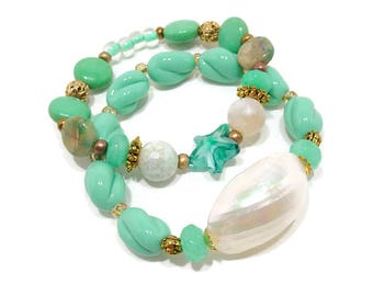 Aqua Turquoise Stretch Bracelet Set, Boho Stack Bracelets, Bohemian Bracelets, Ocean Inspired Bracelet, Nautical Bracelets, Beachy Bracelets