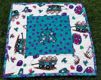 Quilted Mini Quilt, Table Mat, Snack or Candle Mat Fun Piggy Patchwork