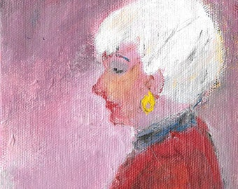 Original acrylic figurative portrait painting 5x5 Woman with white hair red blouse