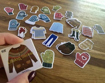 Winter clothing stickers - box of 45 handknit sweaters/mittens/gloves/leggings/trench coat/hat/boots