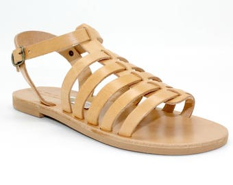 Greek tan sandals,Leather sandals,leather gladiators, handmade sandals, leder sandalen, nu-pieds multibrides, sandales grecques cuir