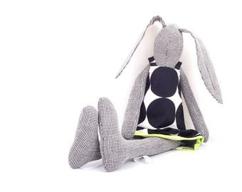 stuffed bunny , Home Decor Toy , black doll , Modern nursery , textile doll , cuddling rabbit , stuffed doll , eco plush , Woodland Plushie