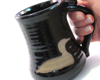 Loon Coffee Mug - Tea Cup - Handmade Pottery - Wild Animal Silhouette - Black Loon Mug - Duck Mug - Pottersong