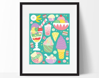 Sweets of Southeast Asia, 11X14 Art Print, Food Art, Food Poster, Kitchen Wall Art, Kitchen Decor, Illustration, Asian Dessert, Halo-Halo