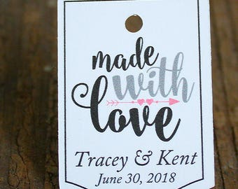 """Made with Love 50+ tags - 1.25""""x 1.5"""" - Fancy Cut  Customized Small Price Tags Jewelry Hang Tags"""
