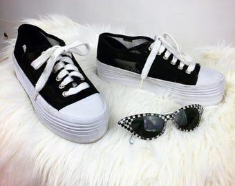 Vintage 90s MESH ESPRIT Sheer Black Platform Sneakers, 7 - 7.5