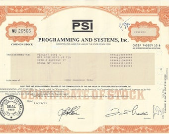 Vintage Programming and Systems, Inc. (PSI) Original Common Stock Certificate (orange), 1970's