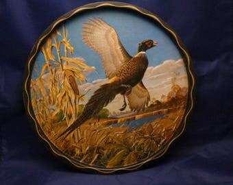 Vintage Pheasant James L. Artig Wildlife Toleware Metal Tray, 1960s