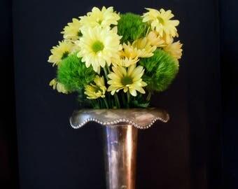 Vintage Towe / Tall Brass Vase / Pedestal Brass Vase / Vintage FlowerBrass Vase / Wedding Vase / Church Vase