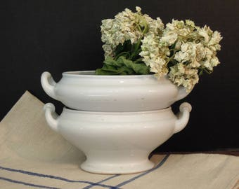 Two Antique Ironstone Tureens /  Henry Alcock and Turner Goodard Co. Small Casseroles / England / 1860's / Two White Ironstone Tureen Bases