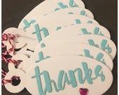 Handmade Thank You Gift Tags Pink Crystal Heart White Aqua Blue Hostess Wedding Shower Teachers Gifts Oval Diecut Tags set of 8