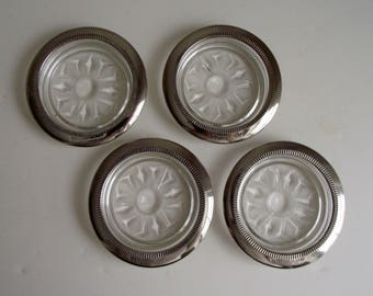 Silver Plated Glass Coasters , Set of 4 Vintage Primrose Plate Italy Coasters , Mid Century Retro Barware , Mad Men Style