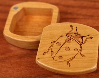 "Ladybug Wooden Box, Solid Cherry, Pattern MS26 Ladybug, 1-3/4""L x 1-7/8""W x 7/8""D, Masterpiece Laser"