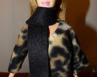 Short Fleece coat & scarf set in Leopard animal print for Fashion Dolls - ed1051