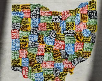 Ohio Map Etsy - Map of state of ohio